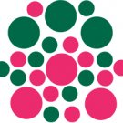 Set of 26 - HOT PINK / DARK GREEN CIRCLES Vinyl Wall Graphic Decals Stickers shapes polka dots