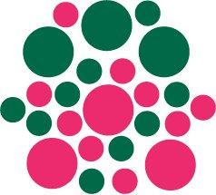 Set of 26 - HOT PINK / DARK GREEN CIRCLES Vinyl Wall Graphic Decals Stickers shapes polka dots