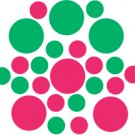 Set of 26 - HOT PINK / GREEN CIRCLES Vinyl Wall Graphic Decals Stickers shapes polka dots