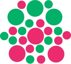 Set of 26 - HOT PINK / GREEN CIRCLES Vinyl Wall Graphic Decals Stickers shapes polka dots