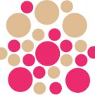 Set of 26 - HOT PINK / LIGHT BROWN CIRCLES Vinyl Wall Graphic Decals Stickers shapes polka dots