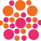 Set of 26 - HOT PINK / ORANGE CIRCLES Vinyl Wall Graphic Decals Stickers shapes polka dots