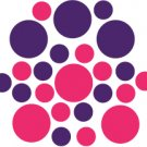 Set of 26 - HOT PINK / PURPLE CIRCLES Vinyl Wall Graphic Decals Stickers shapes polka dots