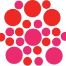 Set of 26 - HOT PINK / RED CIRCLES Vinyl Wall Graphic Decals Stickers shapes polka dots