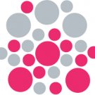 Set of 26 - HOT PINK / SILVER METALLIC CIRCLES Vinyl Wall Graphic Decals Stickers shapes polka dots