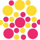Set of 26 - HOT PINK / YELLOW CIRCLES Vinyl Wall Graphic Decals Stickers shapes polka dots