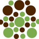 Set of 26 - LIME / BROWN CIRCLES Vinyl Wall Graphic Decals Stickers shapes polka dots
