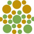 Set of 26 - LIME / GOLD METALLIC CIRCLES Vinyl Wall Graphic Decals Stickers shapes polka dots