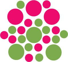 Set of 26 - LIME / HOT PINK CIRCLES Vinyl Wall Graphic Decals Stickers shapes polka dots