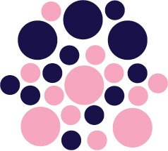 Set of 26 - PINK / DARK BLUE CIRCLES Vinyl Wall Graphic Decals Stickers shapes polka dots