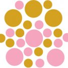 Set of 26 - PINK / GOLD METALLIC CIRCLES Vinyl Wall Graphic Decals Stickers shapes polka dots