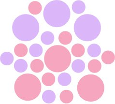 Set of 26 - PINK / LILAC CIRCLES Vinyl Wall Graphic Decals Stickers shapes polka dots