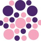 Set of 26 - PINK / PURPLE CIRCLES Vinyl Wall Graphic Decals Stickers shapes polka dots