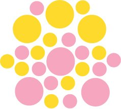 Set of 26 - PINK / YELLOW CIRCLES Vinyl Wall Graphic Decals Stickers shapes polka dots