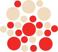 Set of 26 - RED / BEIGE CIRCLES Vinyl Wall Graphic Decals Stickers shapes polka dots