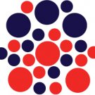 Set of 26 - RED / DARK BLUE CIRCLES Vinyl Wall Graphic Decals Stickers shapes polka dots