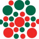 Set of 26 - RED / DARK GREEN CIRCLES Vinyl Wall Graphic Decals Stickers shapes polka dots