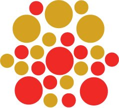 Set of 26 - RED / GOLD METALLIC CIRCLES Vinyl Wall Graphic Decals Stickers shapes polka dots