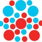 Set of 26 - RED / ICE BLUE CIRCLES Vinyl Wall Graphic Decals Stickers shapes polka dots