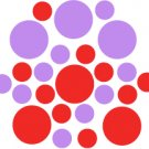 Set of 26 - RED / LAVENDER CIRCLES Vinyl Wall Graphic Decals Stickers shapes polka dots