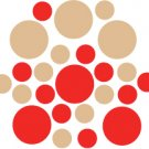 Set of 26 - RED / LIGHT BROWN CIRCLES Vinyl Wall Graphic Decals Stickers shapes polka dots
