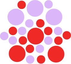 Set of 26 - RED / LILAC CIRCLES Vinyl Wall Graphic Decals Stickers shapes polka dots