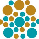 Set of 26 - TURQUOISE / COPPER METALLIC CIRCLES Vinyl Wall Graphic Decals Stickers shapes polka dots