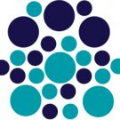 Set of 26 - TURQUOISE / DARK BLUE CIRCLES Vinyl Wall Graphic Decals Stickers shapes polka dots