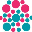 Set of 26 - TURQUOISE / HOT PINK CIRCLES Vinyl Wall Graphic Decals Stickers shapes polka dots