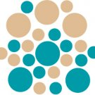 Set of 26 - TURQUOISE / LIGHT BROWN CIRCLES Vinyl Wall Graphic Decals Stickers shapes polka dots