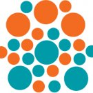 Set of 26 - TURQUOISE / ORANGE CIRCLES Vinyl Wall Graphic Decals Stickers shapes polka dots