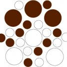 Set of 26 - WHITE / BROWN CIRCLES Vinyl Wall Graphic Decals Stickers shapes polka dots