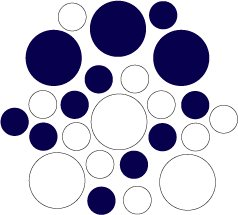 Set of 26 - WHITE / DARK BLUE CIRCLES Vinyl Wall Graphic Decals Stickers shapes polka dots