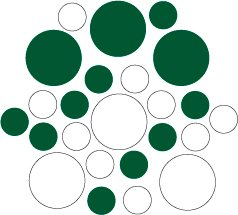 Set of 26 - WHITE / DARK GREEN CIRCLES Vinyl Wall Graphic Decals Stickers shapes polka dots
