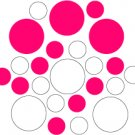 Set of 26 - WHITE / HOT PINK CIRCLES Vinyl Wall Graphic Decals Stickers shapes polka dots
