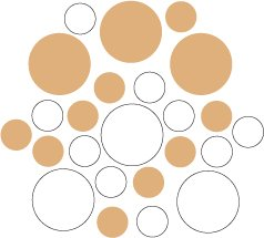 Set of 26 - WHITE / LIGHT BROWN CIRCLES Vinyl Wall Graphic Decals Stickers shapes polka dots