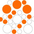 Set of 26 - WHITE / ORANGE CIRCLES Vinyl Wall Graphic Decals Stickers shapes polka dots