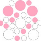 Set of 26 - WHITE / PINK CIRCLES Vinyl Wall Graphic Decals Stickers shapes polka dots