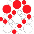 Set of 26 - WHITE / RED CIRCLES Vinyl Wall Graphic Decals Stickers shapes polka dots