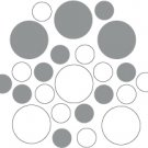 Set of 26 - WHITE / SILVER METALLIC CIRCLES Vinyl Wall Graphic Decals Stickers shapes polka dots