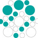 Set of 26 - WHITE / TURQUOISE CIRCLES Vinyl Wall Graphic Decals Stickers shapes polka dots