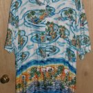 Mens Ocean Current Hawaiian Camp Shirt Size XL Colorful