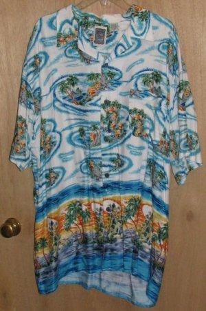 Mens Ocean Current Hawaiian Camp Shirt Size XL Colorful