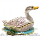 New Duck in Pond Rhinestone jewel Trinket Jewelry Box Gift