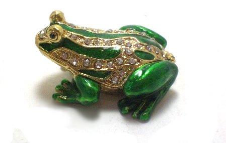 New Small Frog Rhinestone jewel Trinket Jewelry Box Gift