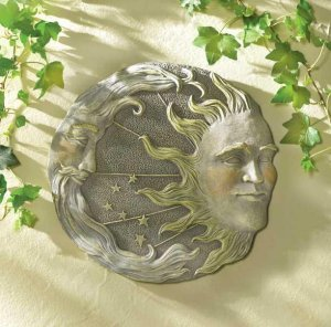 CELESTIAL SUN AND MOON WALL PLAQUE GARDEN RETREAT WALL DECOR
