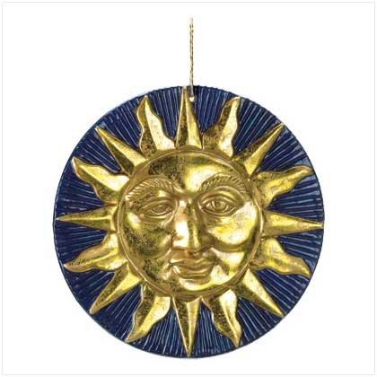 GOLDEN SUN TERRA COTTA WALL PLAQUE GARDEN SMILING SUN