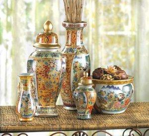 Vibrant Colored 5 Piece Asian Vase Ensemble Absolutely Stunning Elegent