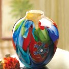 Handcrafted Colorful Floral Fantastia Art  Glass Vase