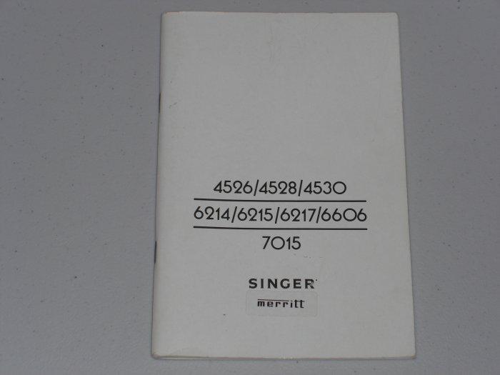 Singer Manual For Models MERRITT 4526 - 7015